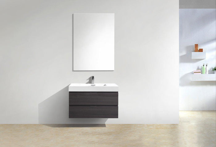 "Bliss 36"" Wall Mount Modern Bathroom Vanity - High Gloss Gray Oak"