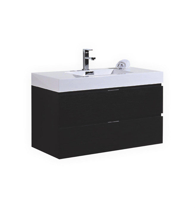 "Bliss 40"" Wall Mount Modern Bathroom Vanity - Black"