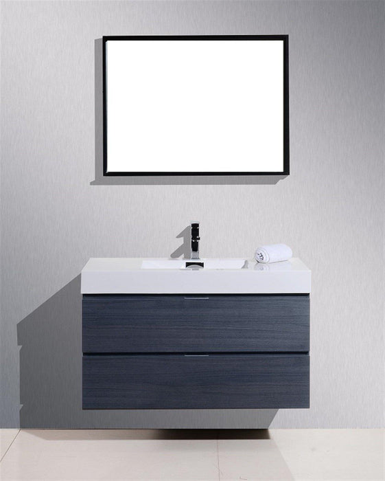 "Bliss 40"" Wall Mount Modern Bathroom Vanity - Gray Oak"