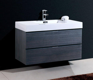 "Bliss 40"" Wall Mount Modern Bathroom Vanity - Gray Oak test"