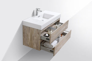 "Bliss 40"" Wall Mount Modern Bathroom Vanity - Nature Wood test"