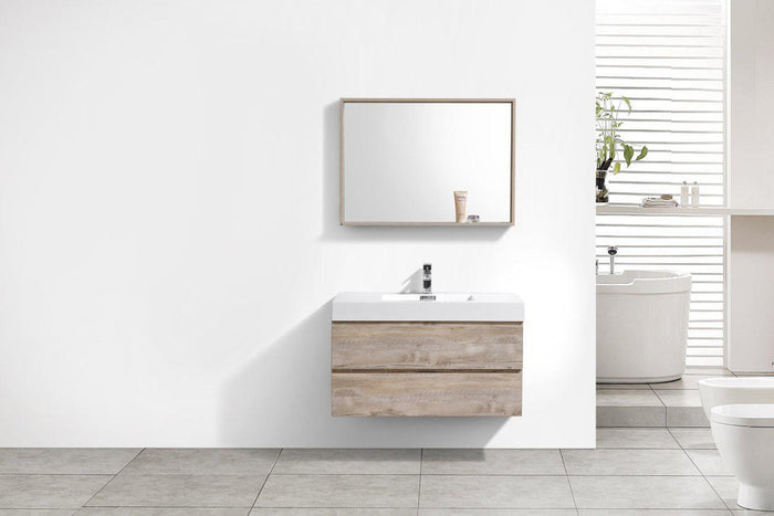 "Bliss 40"" Wall Mount Modern Bathroom Vanity - Nature Wood"