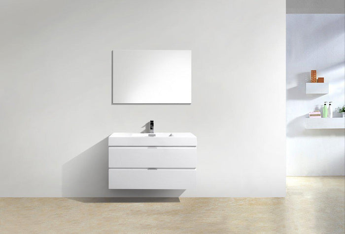 "Bliss 40"" Wall Mount Modern Bathroom Vanity - High Gloss White"