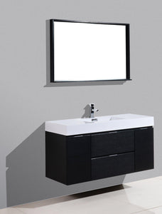"Bliss 48"" Wall Mount Modern Bathroom Vanity - Black test"