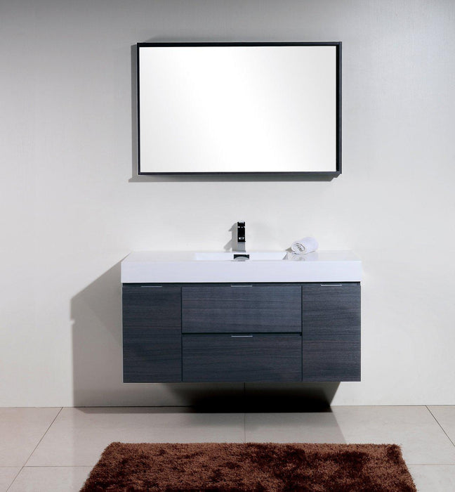 "Bliss 48"" Wall Mount Modern Bathroom Vanity - Gray Oak"