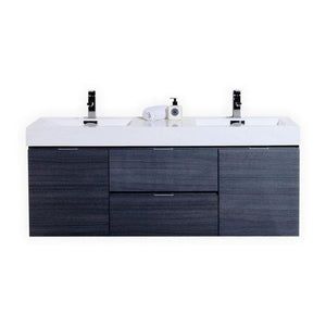 "KubeBath Bliss 60"" Double Sink Wall Mount Modern Bathroom Vanity - Gray Oak, BSL60D-GO"