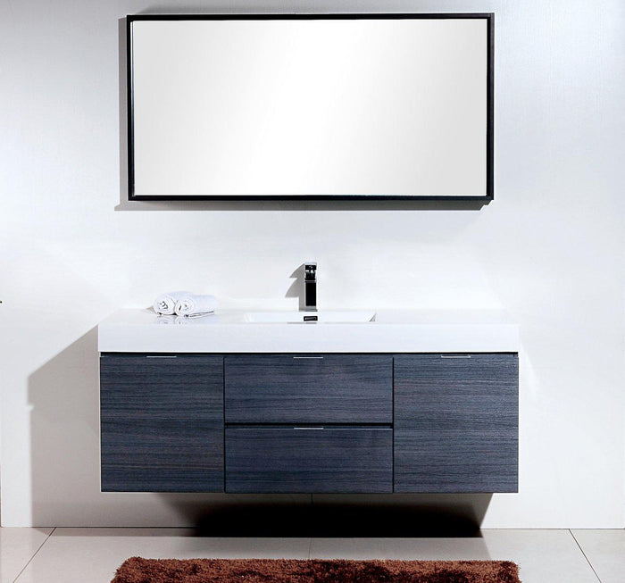 "KubeBath Bliss 60"" Single Sink Wall Mount Modern Bathroom Vanity - Gray Oak, BSL60S-GO"