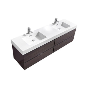 "Bliss 72"" Double Sink Wall Mount Modern Bathroom Vanity - High Gloss Gray Oak test"