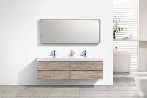 "Bliss 72"" Double Sink Wall Mount Modern Bathroom Vanity - Nature Wood test"
