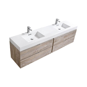 "Bliss 80"" Double Sink Wall Mount Modern Bathroom Vanity - Nature Wood"