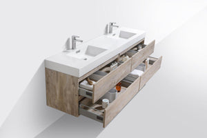 "Bliss 80"" Double Sink Wall Mount Modern Bathroom Vanity - Nature Wood test"