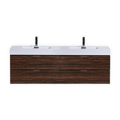 "Bliss 80"" Double Sink Wall Mount Modern Bathroom Vanity - Walnut"