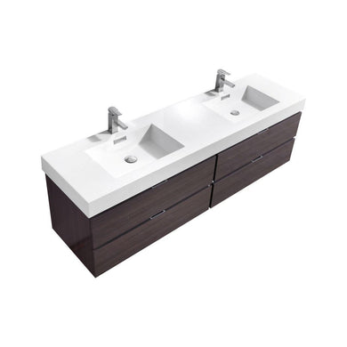 "Bliss 80"" Double Sink Wall Mount Modern Bathroom Vanity - High Gloss Gray Oak"