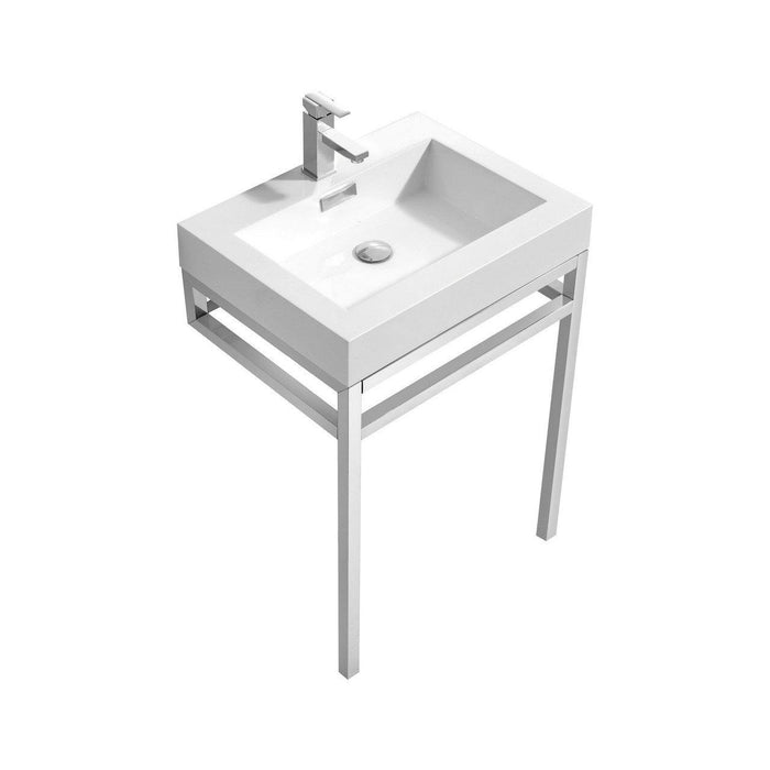"KubeBath Haus 24"" Stainless Steel Console w/ White Acrylic Sink - Chrome, CH24"