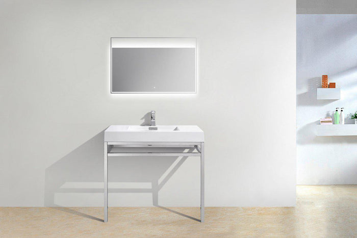 "KubeBath Haus 36"" Stainless Steel Console w/ White Acrylic Sink - Chrome, CH36"