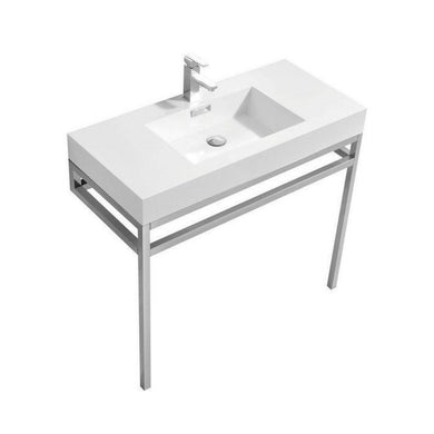 "KubeBath Haus 40"" Stainless Steel Console w/ White Acrylic Sink - Chrome, CH40"