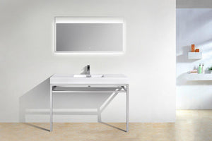 "KubeBath Haus 48"" Stainless Steel Console w/ White Acrylic Sink - Chrome, CH48 test"