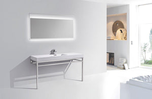 "KubeBath Haus 60"" Single Sink Stainless Steel Console w/ White Acrylic Sink - Chrome, CH60S test"