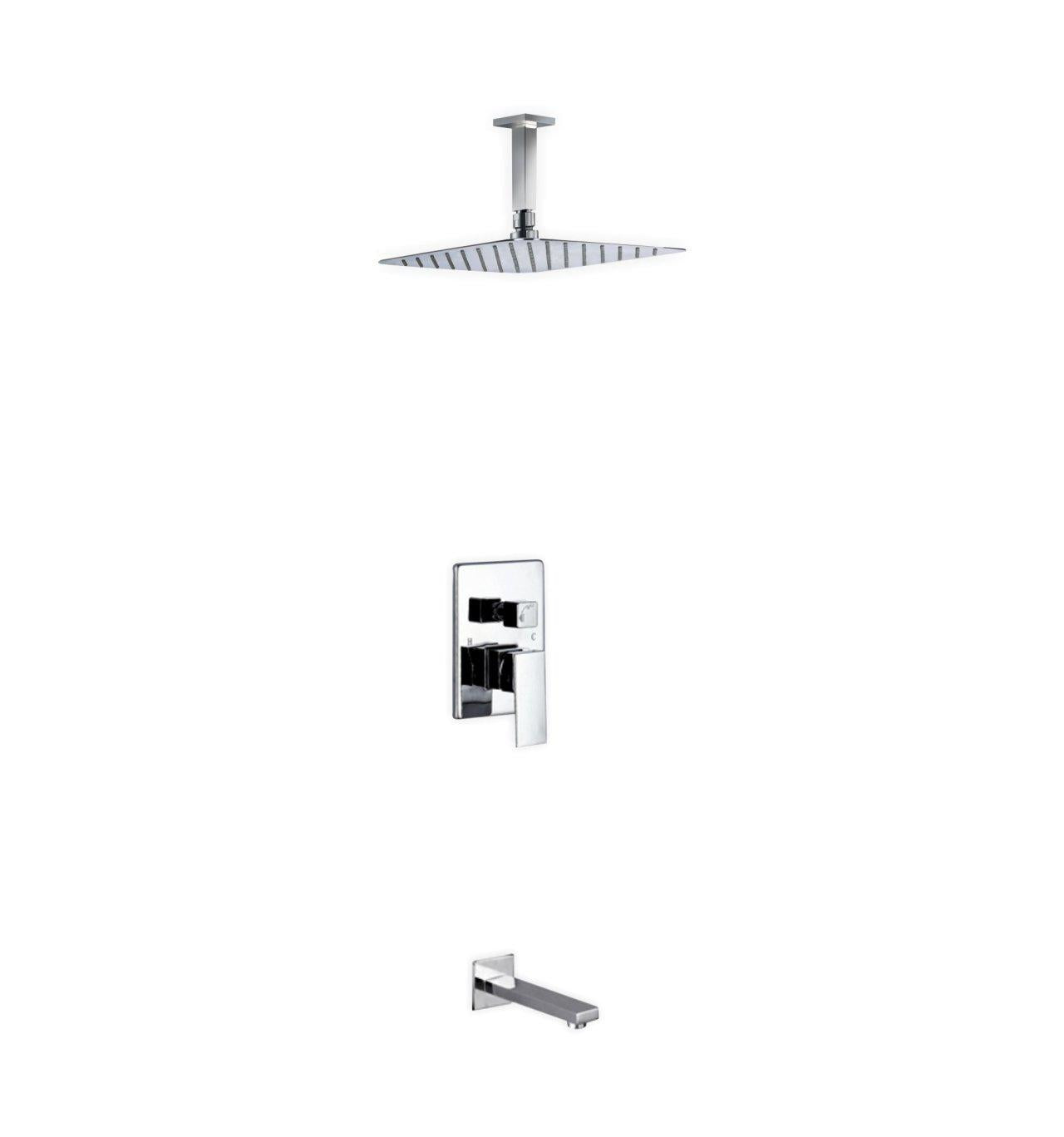 Aqua Piazza Shower Set With 12 Ceiling Mount Square Rain
