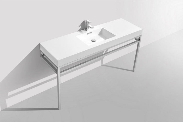 "KubeBath Haus 60"" Single Sink Stainless Steel Console w/ White Acrylic Sink - Chrome, CH60S"