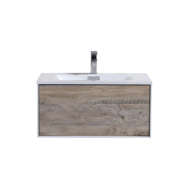 "Divario 30"" Wall Mount Modern Bathroom Vanity - Nature Wood"