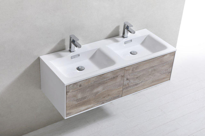 "KubeBath Divario 48"" Nature Wood Wall Mount Modern Bathroom Vanity, D48NW"