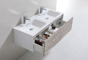 "KubeBath Divario 48"" Nature Wood Wall Mount Modern Bathroom Vanity, D48NW test"