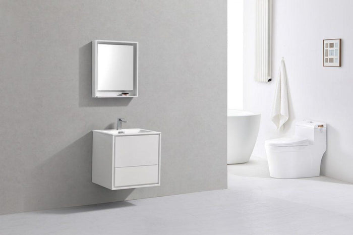 "KubeBath De Lusso 24"" Wall Mount Modern Bathroom Vanity - High Glossy White, DL24-GW"