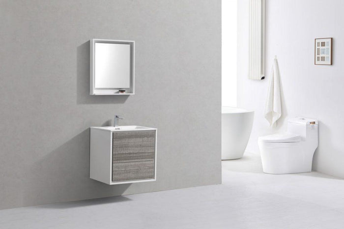 "KubeBath De Lusso 24"" Wall Mount Modern Bathroom Vanity - Ash Gray, DL24-HGASH"