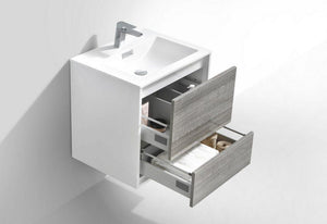 "KubeBath De Lusso 24"" Wall Mount Modern Bathroom Vanity - Ash Gray, DL24-HGASH test"