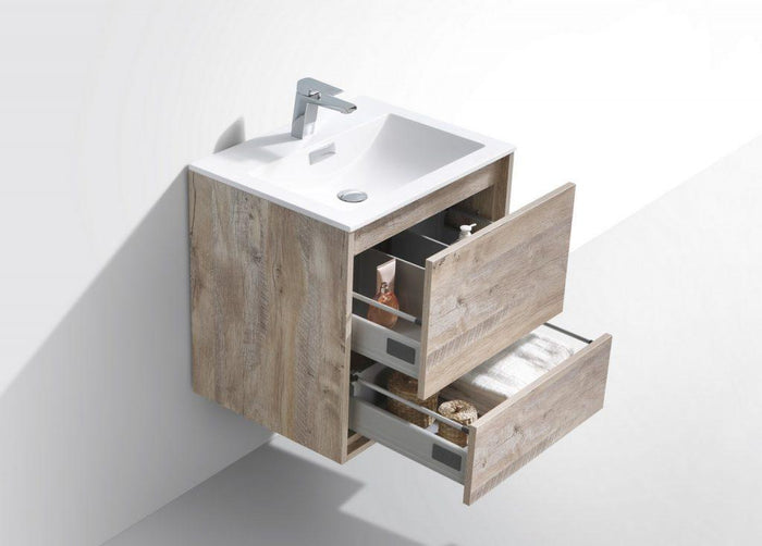 "KubeBath DeLusso 24"" Wall Mount Modern Bathroom Vanity - Nature Wood, DL24-NW"