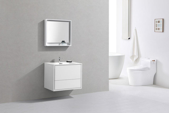 "KubeBath DeLusso 30"" Wall Mount Modern Bathroom Vanity - High Glossy White, DL30-GW"