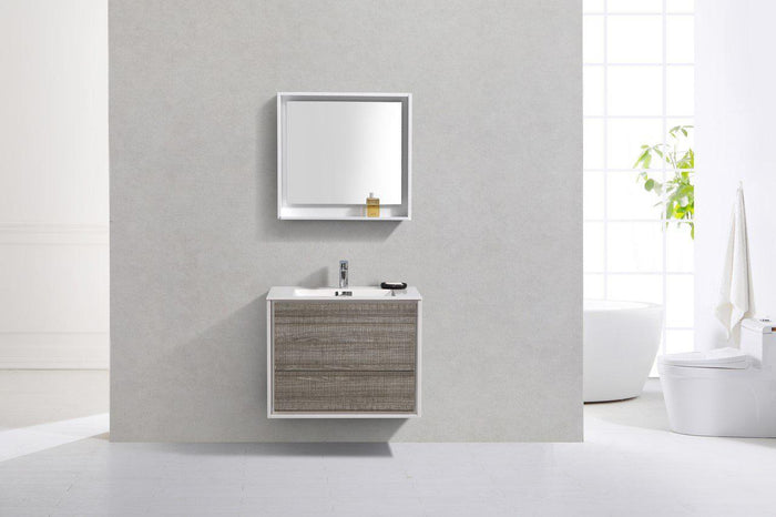 "KubeBath De Lusso 30"" Wall Mount Modern Bathroom Vanity - Ash Gray, DL30-HGASH"