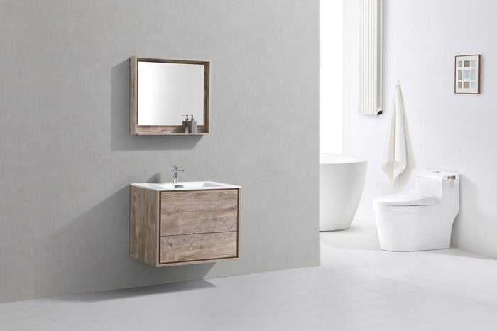 "KubeBath De Lusso 30"" Wall Mount Modern Bathroom Vanity - Nature Wood, DL30-NW"