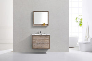 "KubeBath De Lusso 30"" Wall Mount Modern Bathroom Vanity - Nature Wood, DL30-NW test"