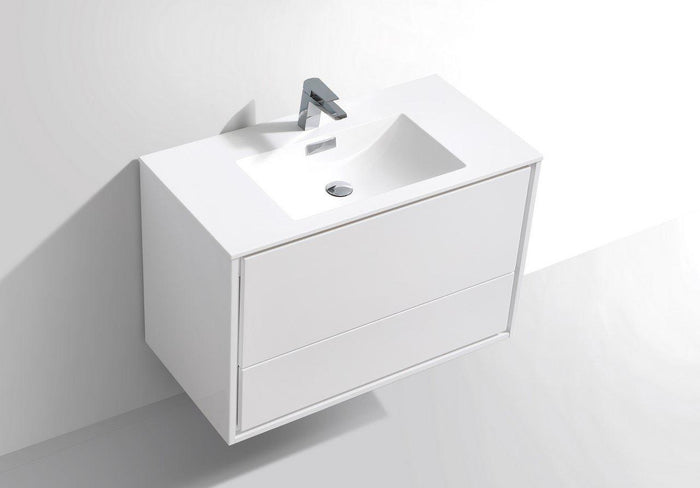 "KubeBath De Lusso 36"" Wall Mount Modern Bathroom Vanity - High Gloss White, DL36-GW"