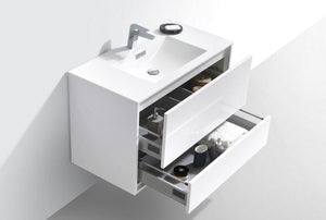 "KubeBath De Lusso 36"" Wall Mount Modern Bathroom Vanity - High Gloss White, DL36-GW test"