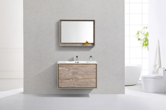 "KubeBath DeLusso 36"" Wall Mount Modern Bathroom Vanity - Nature Wood, DL36-NW"