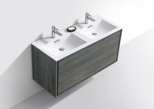 "KubeBath De Lusso 48"" Double Sink Wall Mount Modern Bathroom Vanity - Ocean Gray, DL48D-BE test"