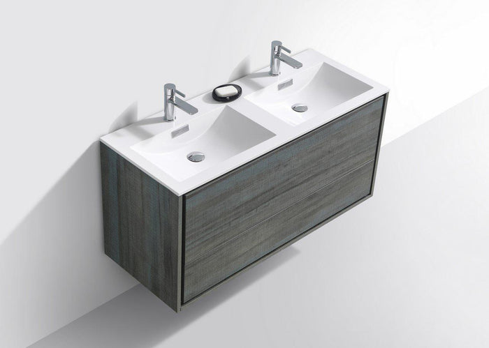 "KubeBath De Lusso 48"" Double Sink Wall Mount Modern Bathroom Vanity - Ocean Gray, DL48D-BE"