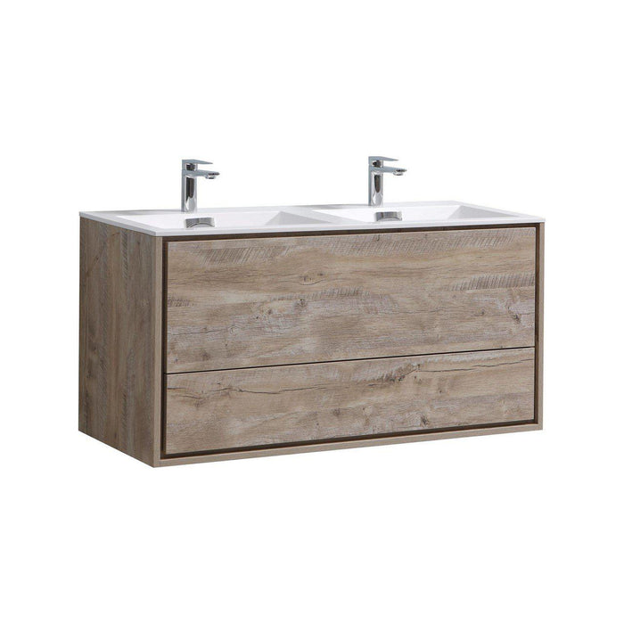 "KubeBath DeLusso 48"" Double Sink Wall Mount Modern Bathroom Vanity - Nature Wood, DL48D-NW"