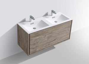 "KubeBath DeLusso 48"" Double Sink Wall Mount Modern Bathroom Vanity - Nature Wood, DL48D-NW test"