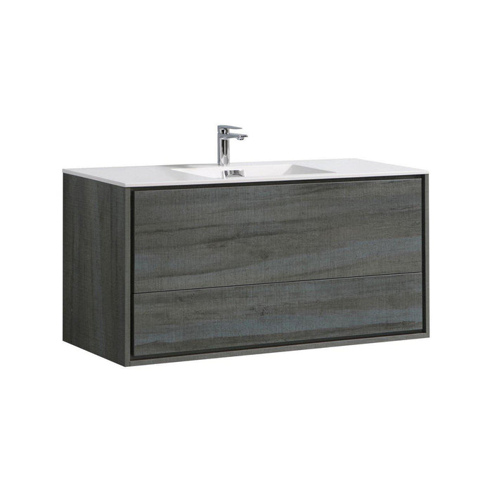 "KubeBath De Lusso 48"" Single Sink Wall Mount Modern Bathroom Vanity - Ocean Gray, DL48S-BE"