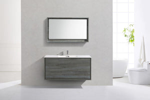 "KubeBath De Lusso 48"" Single Sink Wall Mount Modern Bathroom Vanity - Ocean Gray, DL48S-BE test"
