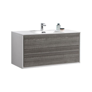 "KubeBath DeLusso 48"" Single Sink Wall Mount Modern Bathroom Vanity - Ash Gray, DL48S-HGASH"