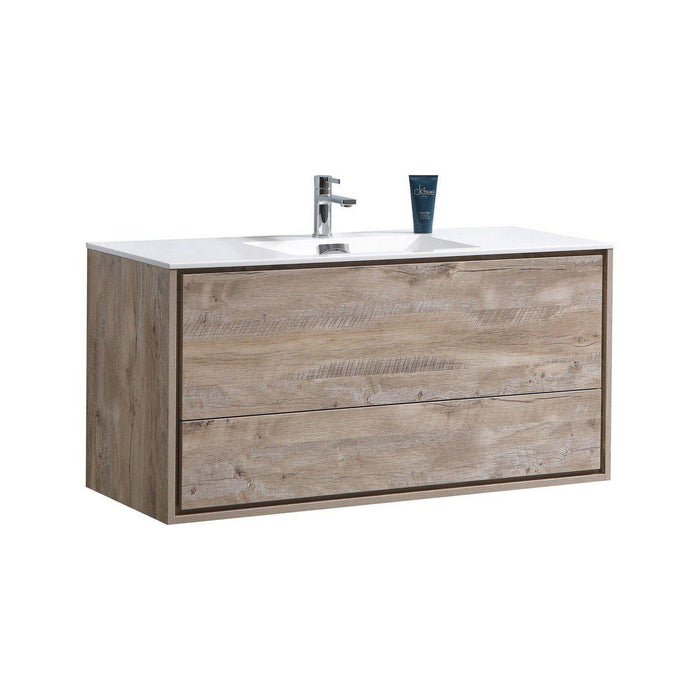 "KubeBath DeLusso 48"" Single Sink Wall Mount Modern Bathroom Vanity - Nature Wood, DL48S-NW"