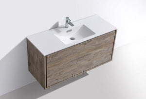 "KubeBath DeLusso 48"" Single Sink Wall Mount Modern Bathroom Vanity - Nature Wood, DL48S-NW test"