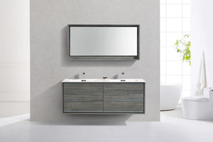 "KubeBath De Lusso 60"" Double Sink Wall Mount Modern Bathroom Vanity - Ocean Gray, DL60D-BE test"