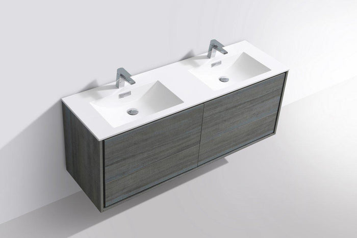 "KubeBath De Lusso 60"" Double Sink Wall Mount Modern Bathroom Vanity - Ocean Gray, DL60D-BE"