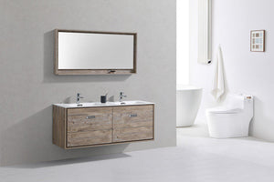 "KubeBath DeLusso 60"" Double Sink Wall Mount Modern Bathroom Vanity - Nature Wood, DL60D-NW test"